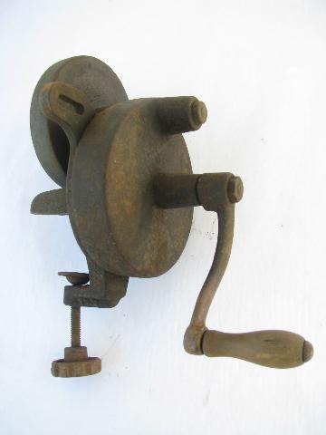 primitive antique farm tool hand grinder for sharpening