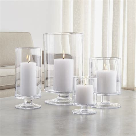 glass candle holders glass hurricane candle holders crate and barrel