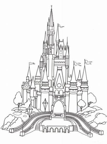 Chateau Coloriage Disney Castle Coloring Dessin Drawing