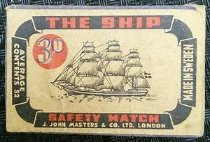 THE SHIP 3° MADE SWEDEN AVERAGE CONTAINS 52 SAFETY MATCH J ...