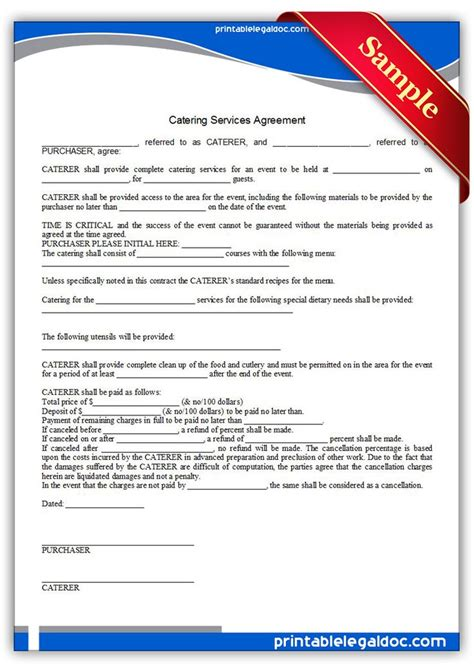 printable catering services agreement sample