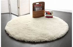 tapis shaggy rond blanc 150 cm ugo miliboo With tapis rond 150 cm