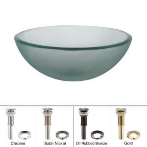 kraus 14 in glass vessel sink in frosted with pop up