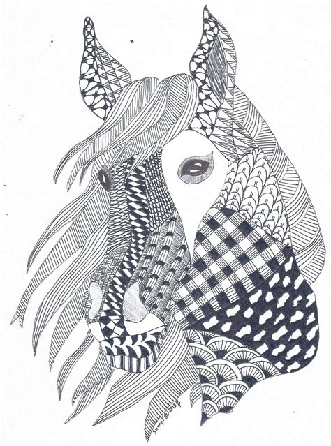 horse zentangle  created   father  law