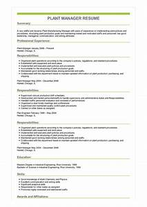 Objectives For Job Resumes Sample Plant Manager Resume