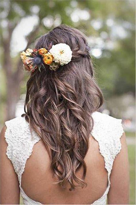 wedding hairstyles  long hair  flowers braid