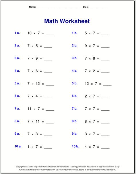 math worksheets   form