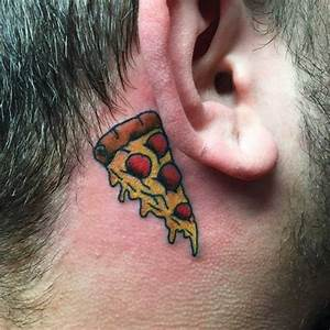 Men Behind Ear Pizza Tattoo - Golfian.com