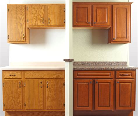 Refacing Cabinet Doors by Before After Showroom Cabinet Refacing Display Walzcraft
