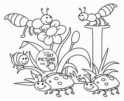 Nature Coloring Pages Spring Drawing Printables Seasons