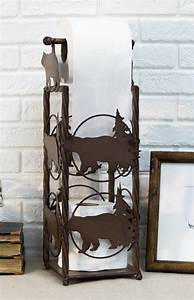 Cast, Iron, Western, Rustic, Black, Bear, Pine, Trees, Toilet, Paper, Holder, Stand, Station