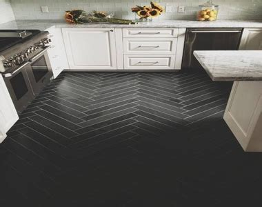 Black Herringbone Floor Tile Ideas