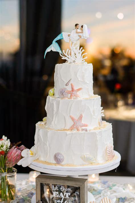 Beach Themed Wedding Cake With Mermaid Cake Topper