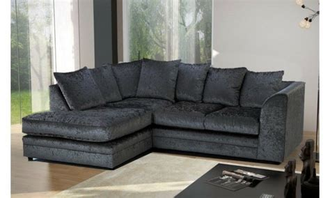 Cheapest Settees by Brand New Black Crushed Velvet Fabric Corner Sofa Settee