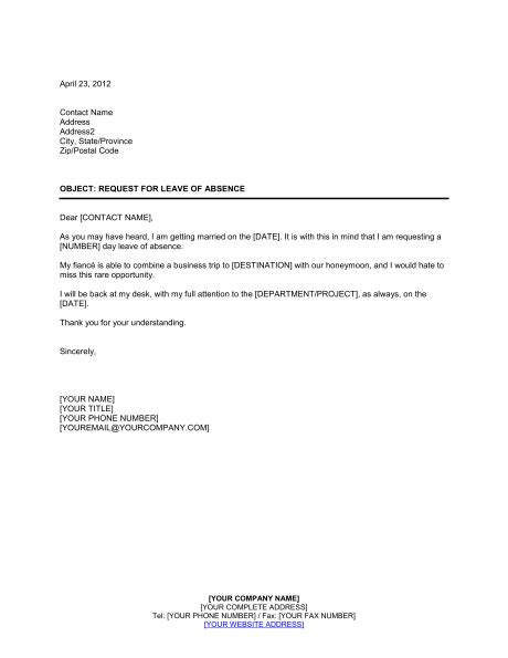 personal leave of absence letter request for leave of absence template sle form 8352