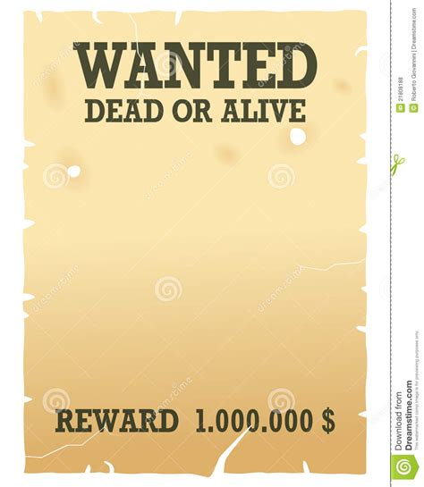 Wanted Dead Or Alive Poster Template Free by Pin Blank Wanted Poster Template For 785jpg On
