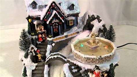 avon fiber optic musical fountain christmas village