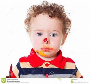 Cute Astonished Baby Boy Playing With Paints Stock Photo ...