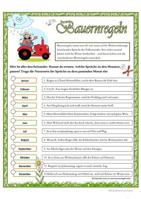 bauernregeln arbeitsblatt kostenlose daf arbeitsblaetter