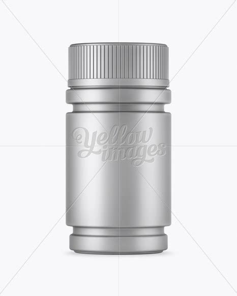 This mockup is available for purchase only on yellow images. Download Matte Metallic Pill Bottle Mockup PSD