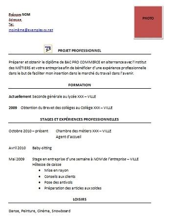 Exemple Cv Pro by Modele De Cv Bac Pro