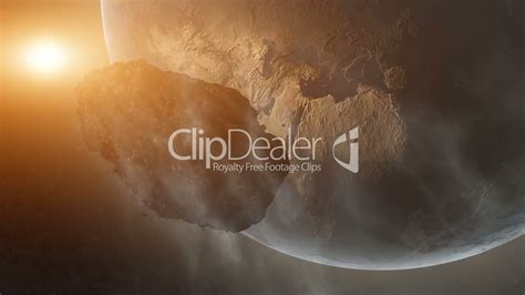 Asteroid Over Earth: Royalty-free video and stock footage