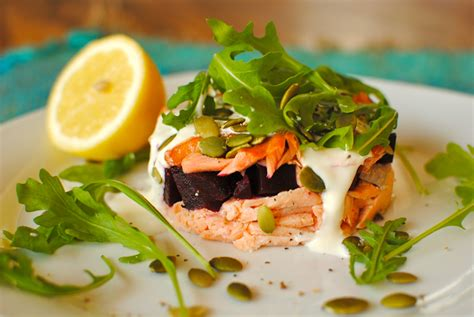 creme fraiche cuisine salmon and beetroot stack with cardamom lemon creme