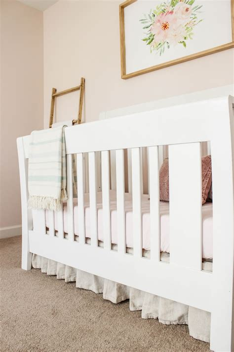 crib bed skirt no sew drop cloth crib skirt delightfully noted