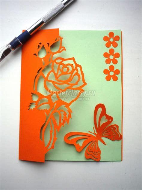 diy kirigami rose  butterfly greeting card
