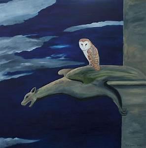 Barn Owl On A Gargoyle Painting by Robert Harris
