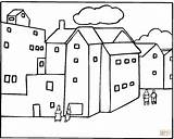 Coloring Neighborhood Pages Buildings Apartment Houses Printable Around Freecoloringpagefun Template Colouring Pdf Coloringhome sketch template