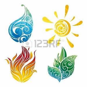 Tatouage 4 éléments : symboles soleil feuille eau et le feu dans l ~ Nature-et-papiers.com Idées de Décoration