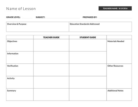 English Teaching Templates by 5 Free Lesson Plan Templates Exles Lucidpress