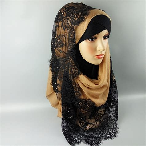 fashion design arab women muslim hijab scarf islamic lace