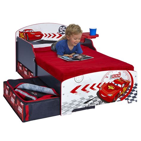 disney cars junior toddler bed storage shelf boxed
