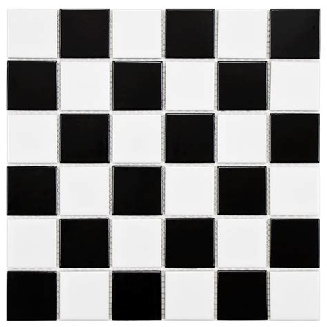 Black And White Floor Tiles by Merola Tile Boreal Checker Black And White 11 7 8 In