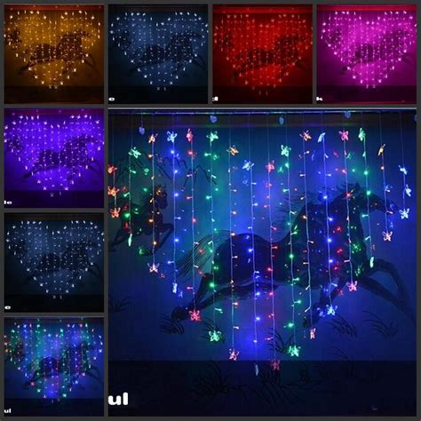 butterfly heart shaped colorful led lights string with