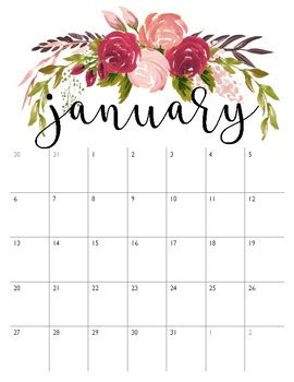 pretty calendars january december vertical dark pink find