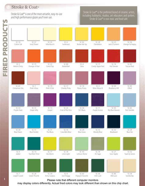 color coat stroke coat c olor c hart p age 1 glazes tiles by