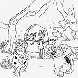 Cave Coloring Drawing Flintstones Prehistoric Printable Age Teenagers Stone Drawings Saber Colour Cartoon Children Cat Caveman Tooth Ice Tiger Dinosaur sketch template