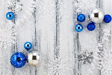 christmas blue silver decorations holiday