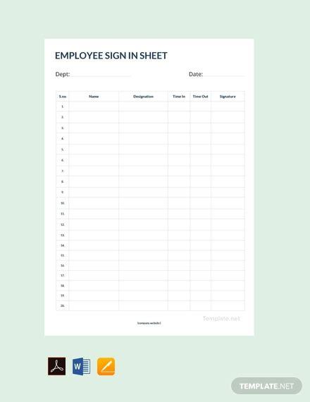 employee sign sheet template  word