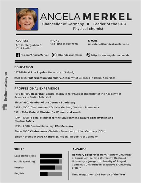 how would angela merkel cv look like