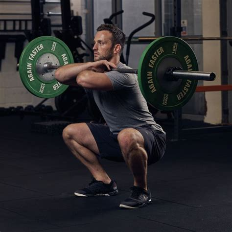 squat barbell master bar chest down rack stand hands across heels wide exercises