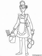 Maid Coloring Drawing Drawings Printable Housemaid Chambermaid Career Fans sketch template