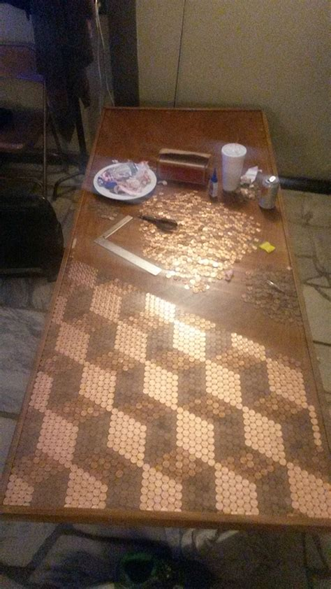 pennies penny table diy tabletop tops unique he tile gathered creative guy sunnyskyz did line imgur money floors cool bench