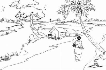 Nature Village India Scenery Coloring Drawing Scene