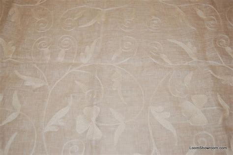 hd797 kravet semi sheer linen with crewel work embroidery