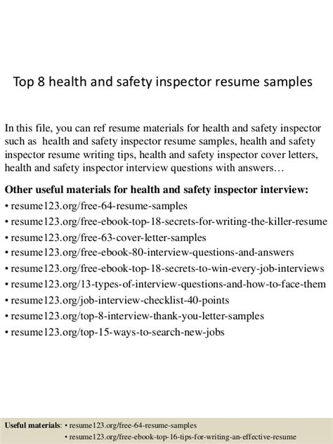 top 8 health and safety inspector resume sles