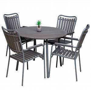 Table De Jardin Ronde En Bois : ensemble de jardin marron table ronde et 4 fauteuils malo ~ Dailycaller-alerts.com Idées de Décoration